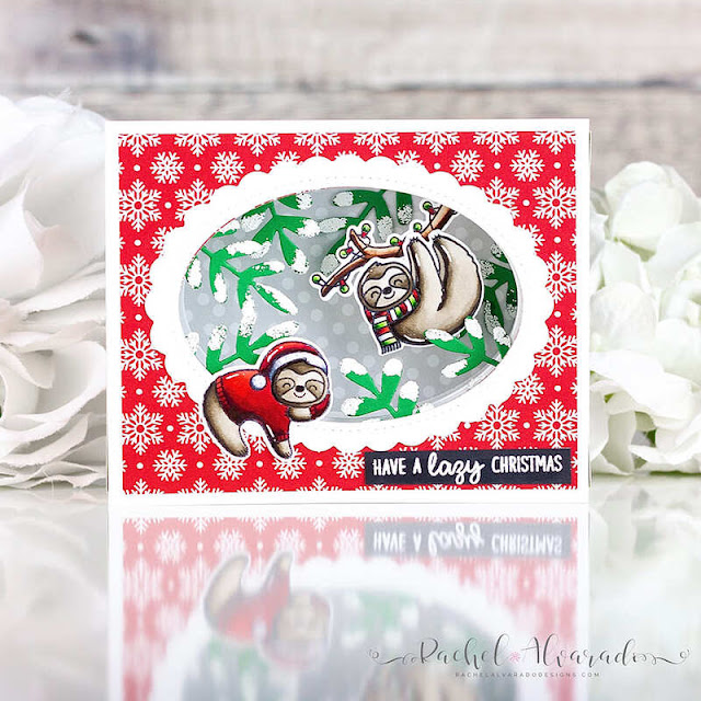 Sunny Studio Stamps: Lazy Christmas Stitched Oval Dies Scalloped Oval Mat Dies Winter Greenery Christmas Card by Rachel Alvarado