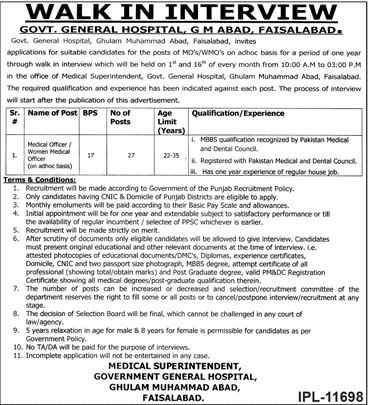 Jobs Vacancies in Government General Hospital Faisalabad 20 Dec 2018