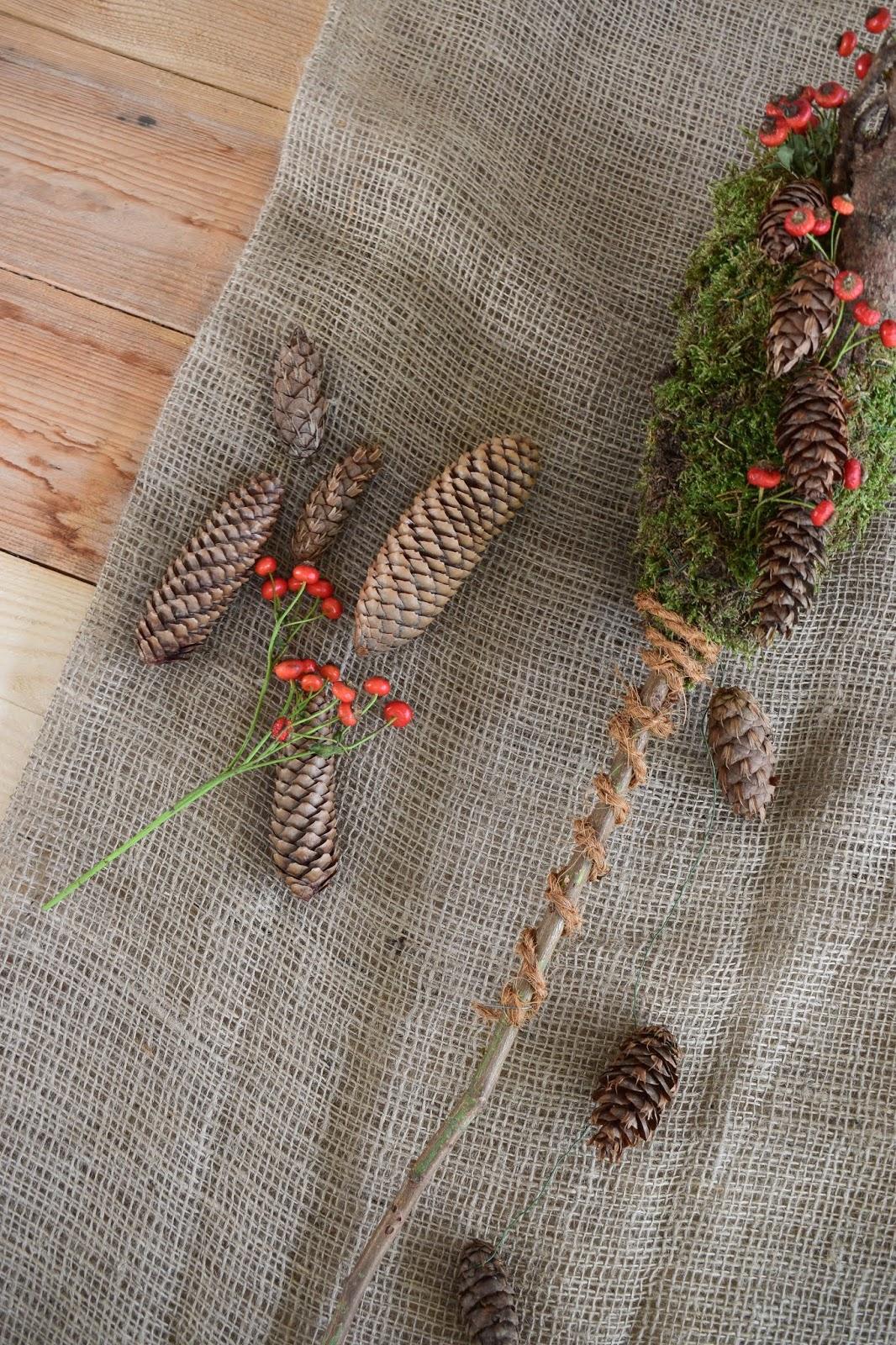 DIY Dekoidee Winter Workshop Kreativ Natuerlich Ideenreich: Gartenstab Dekostab Winterdeko Moosdeko selber machen