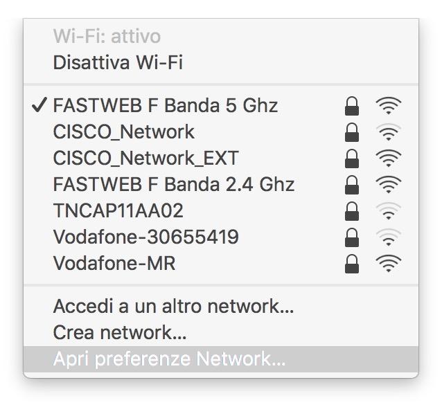 impostazioni reti wifi mac
