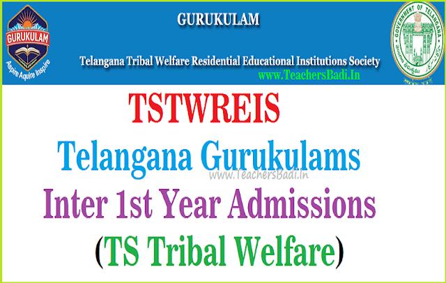 TStwreis gurukulam,Inter 1st year admissions,ts tribal welfare