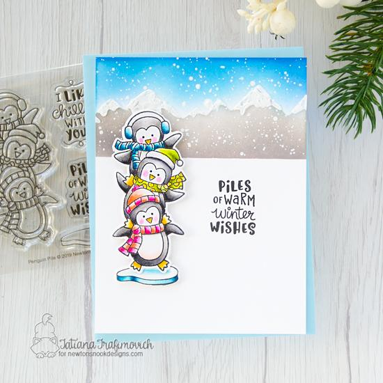 Penguin Card by Tatiana Trafimovich | Penguin Pile Stamp Set and Mountains Stencil by Newton's Nook Designs #newtonsnook #handmade