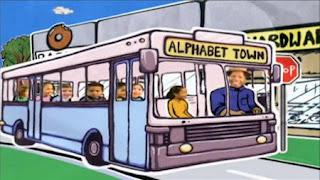 An animation shows Alphabet Town. Sesame Street Preschool is Cool ABCs With Elmo
