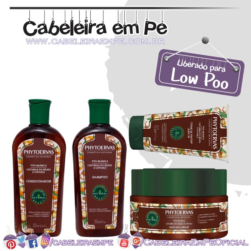 Shampoo, Condicionador, Ampola, Máscara e Creme para pentear Pós Química - Phytoervas (Low Poo)