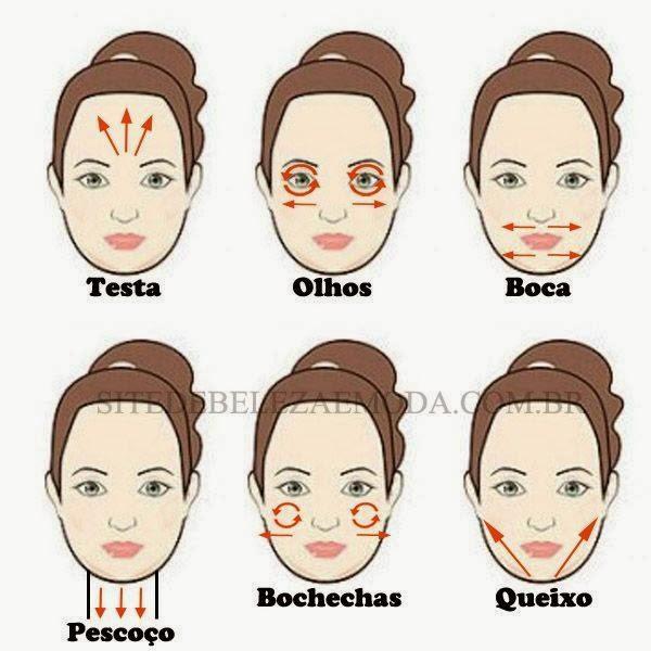 Movimentos com os dedos no rosto