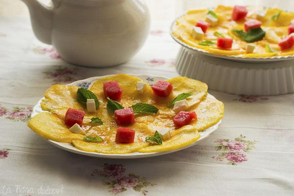 Carpaccio de mango, sandía y queso fesco #sinlactosa