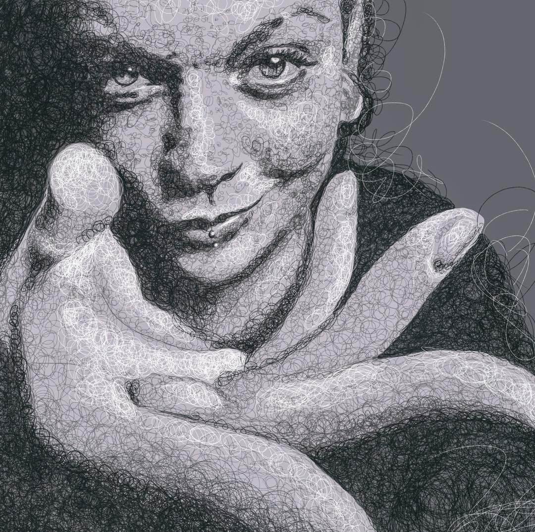 14-Ameryka-Jennifer-Ackerman-Digital-Art-Scribble-Drawing-Portraits-www-designstack-co