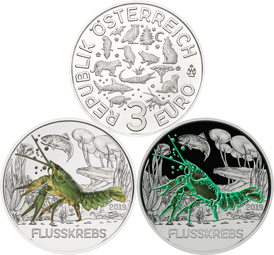 Austria 3 euro 2019 - The Crayfish