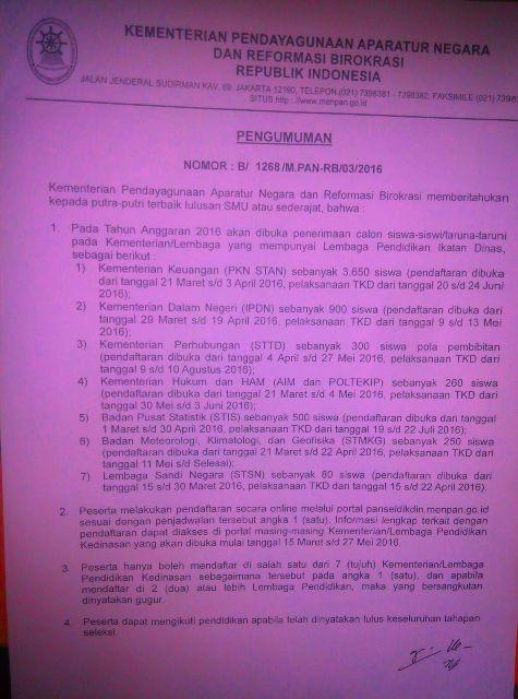 Kabar Gembira ! Pemerintah Buka Pendaftaran 7 Lembaga Pendidikan Ikatan Dinas