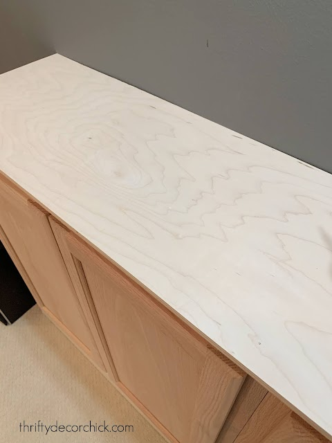 wood countertop on cabinets