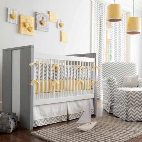 chevron print gray grey nursery