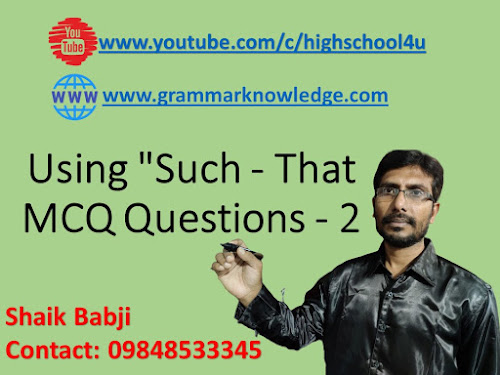 "Using ""Such - That MCQ Questions - 2"