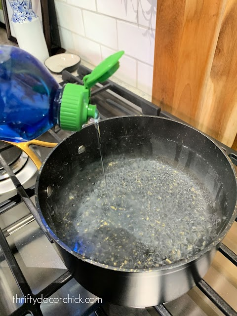boiled water and detergent for drain