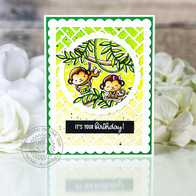 Sunny Studio Stamps: Frilly Frame Dies Fancy Frame Dies Love Monkey Tropical Scenes Birthday Cards by Rachel Alvarado