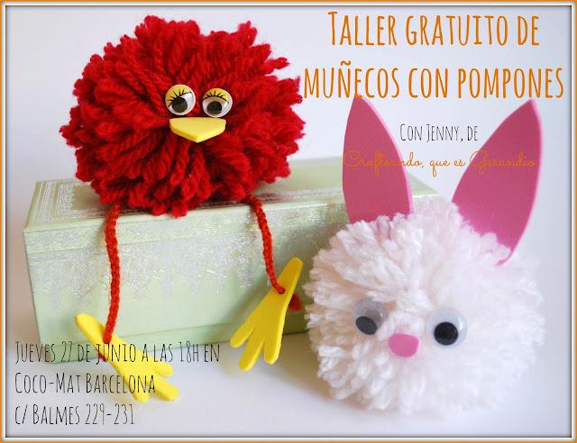 Cartel del taller de muñecos con pompones