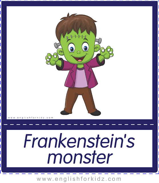 Frankenstein monster - Printable Halloween flashcards