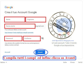 Creare Account Gmail Screen 4