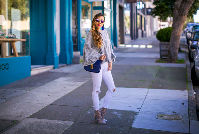 Grey bell sleeve sweater, white jeans, quay my girl sunglasses, lace up pumps, celine classic box bag, san francisco street style, san francisco style blog