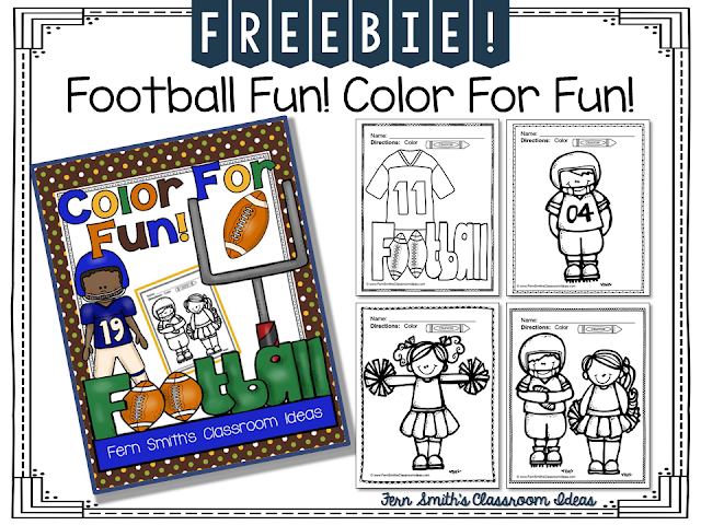 Fern Smith's Classroom Ideas FREE Football Fall Fun Freebie ~ Color for Fun at Fern Smith's Classroom Ideas TeacherspayTeachers Store.