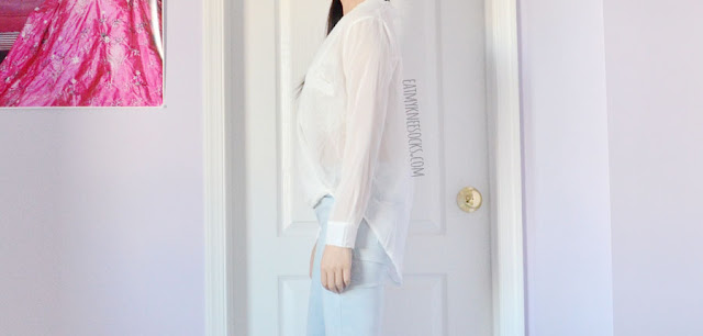 White semi-sheer chiffon wrap surplice long sleeve blouse from Romwe