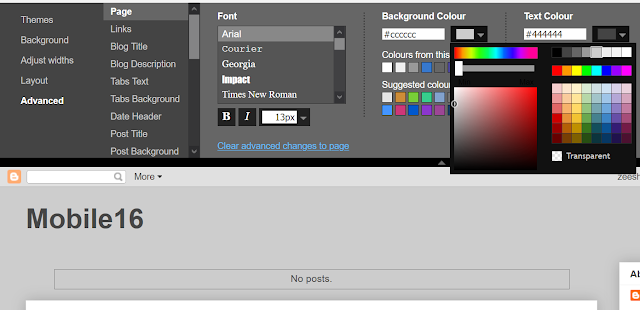 Setting page background colour to grey
