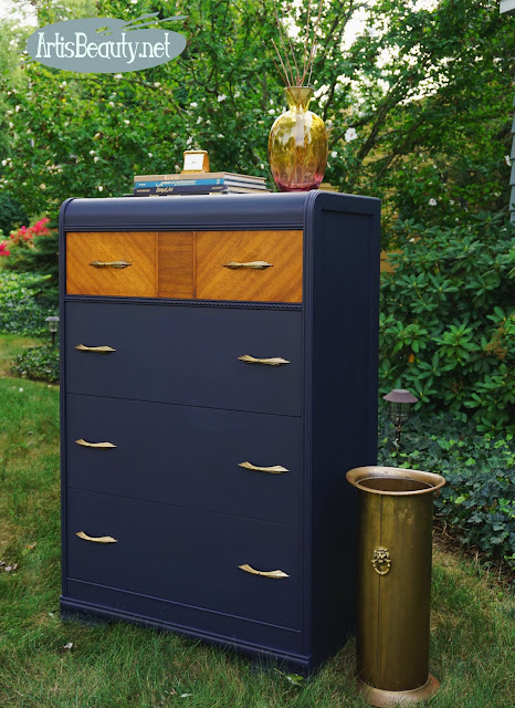 Vintage waterfall Chest of Drawers Dresser makeover with fancy veneered top drawer painted in coastal blue milk paint by general finishes fancy veneer