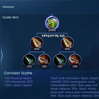 penjelasan lengkap item mobile legends item corrosion scyte