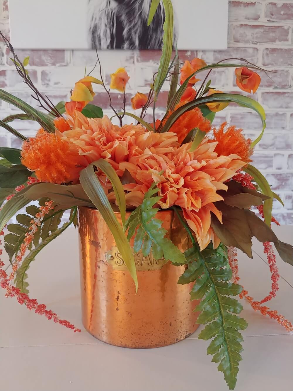 Repurposed Sugar Tin Centerpiece
