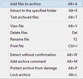 إضافة ملفات إلى الأرشيف الذي فتحته