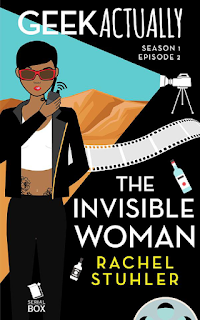 Cover of Geek Actually Episode Two, featuring a stylized illustration of a Filipina woman with short dark hair and grey sunglasses. She stands against a dessert backdrop in a beam of light emitted by an old fashioned video camera, a walkie talkie held to one side of her mouth. A strip of film and a couple of alcohol bottles appear around the episode's title.
