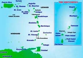 Map Bequia and The Grenadines St Vincent The Grenadines Caribbean
