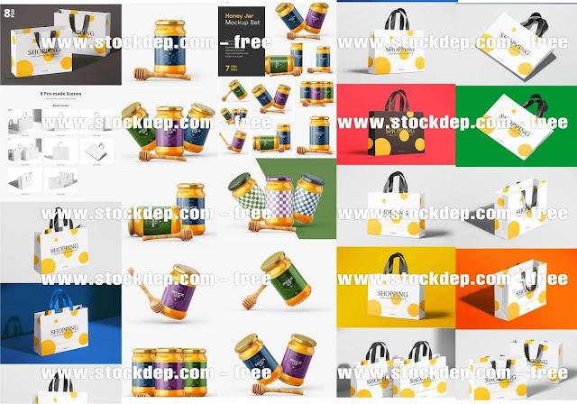 Mockup Ensemble de maquettes de pot de miel avec trempette free download