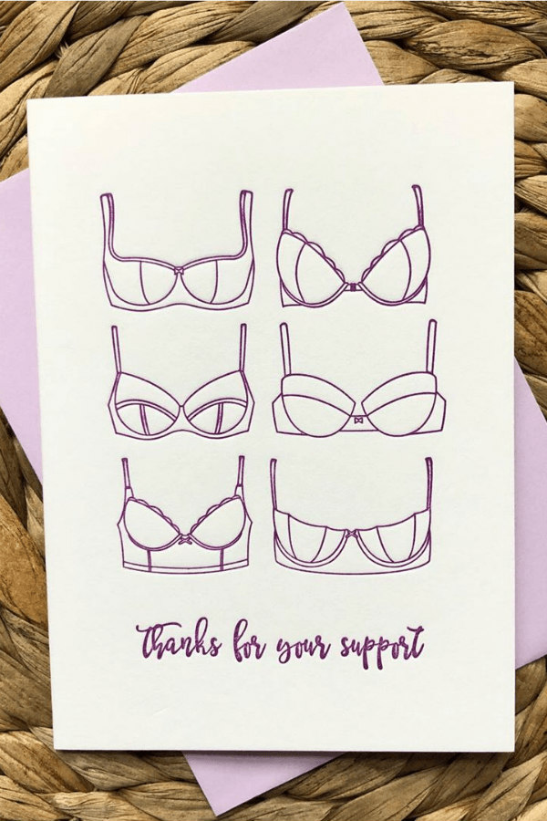 letterpress thank you card showing six bras with a thanks for your support message