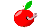 apple cartoon with worm clipart