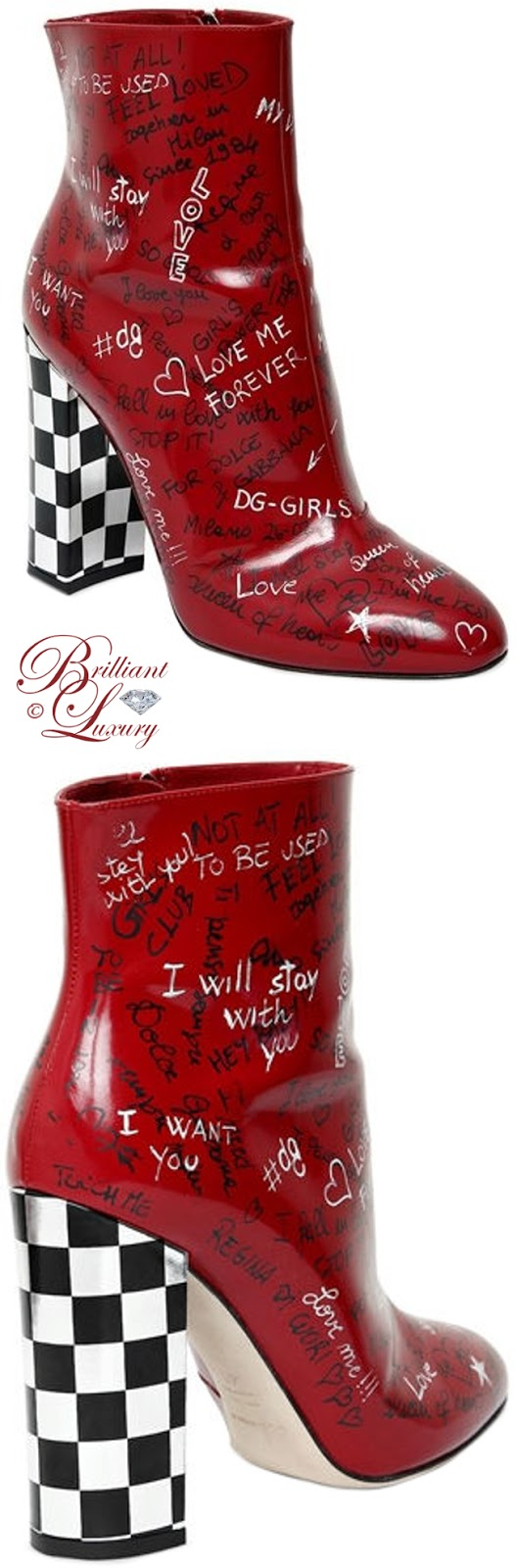 Brilliant Luxury ♦ Dolce & Gabbana Graffiti leather ankle boots