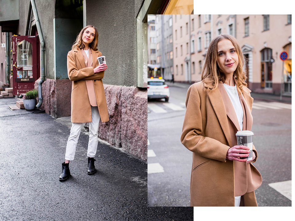Fashion blogger outfit inspiration: white mom jeans, camel blazer and camel coat