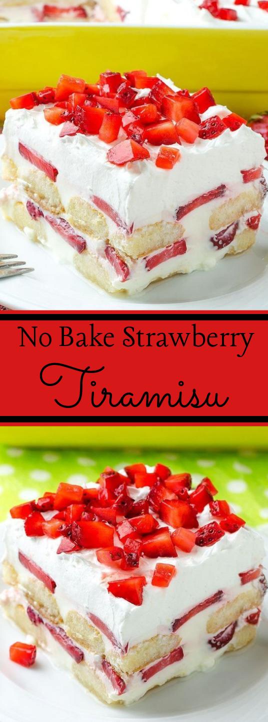 No Bake Strawberry Tiramisu Recipe #desserts #cakes #tiramisu #strawberry #healthycake