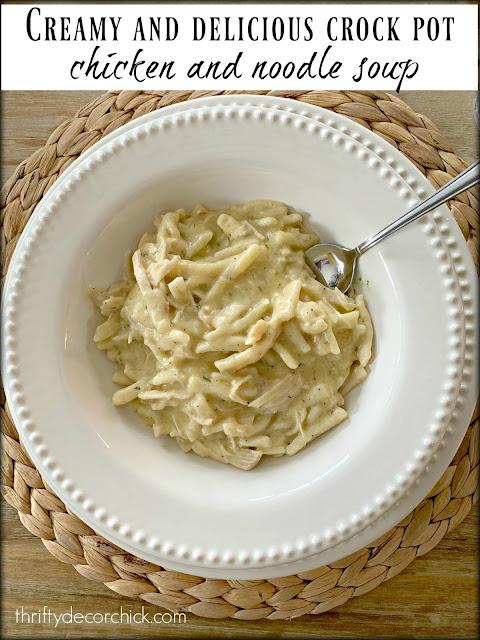 creamy chicken and noodle crock pot soup