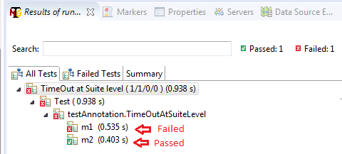timeOut attributes at suite level