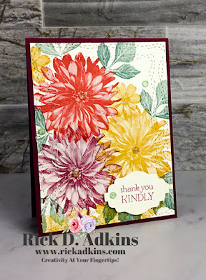 Thank you kindly card using the Delicate Dahlias Sale-a-Bration Stamp Set by Rick Adkins