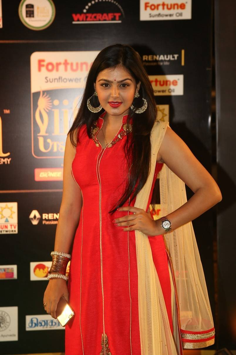 Actress Monal Gajjar Stills At IIFA Awards In Red Dress