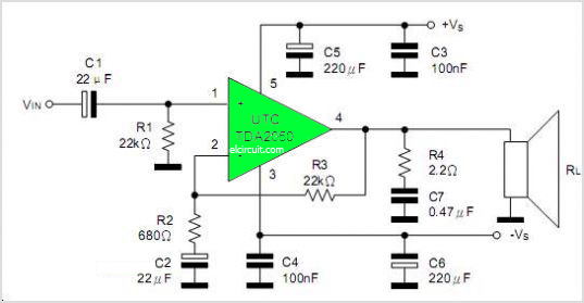 tda2050 power amplifier circuit