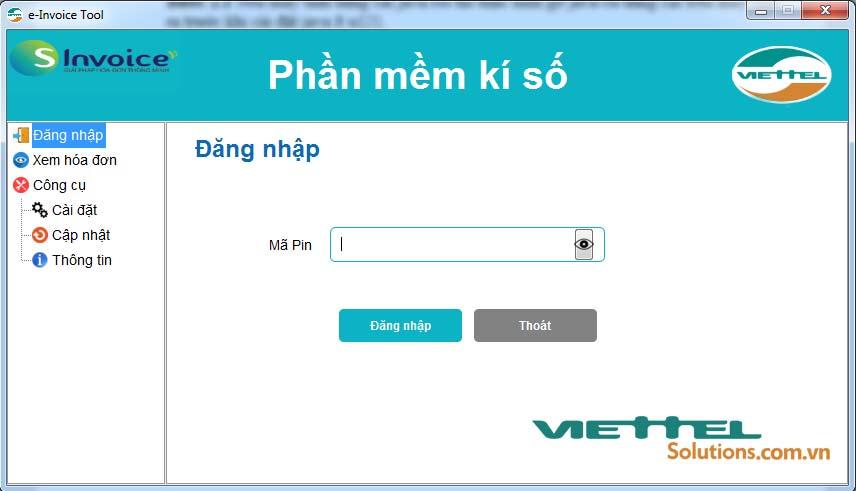 Hình 2 - Màn hình đăng nhập tool ký số