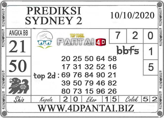 PREDIKSI TOGEL SYDNEY 2 PANTAI4D 10 OKTOBER 2020