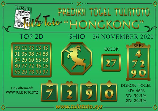 Prediksi Togel HONGKONG TULISTOTO 26 NOVEMBER 2020