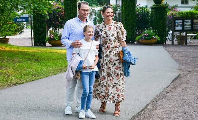 Princess Victoria wore a new Eugenie floral print dress by Ulla Johnson, Princess Sofia wore a new printed poplin dress by Zara