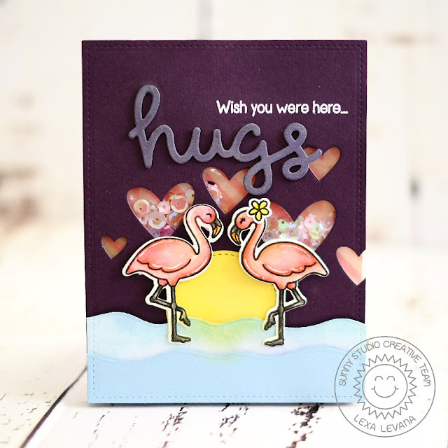 Sunny Studio Stamps: Tropical Paradise Wish You Were Here Flamingo Card by Lexa Levana.
