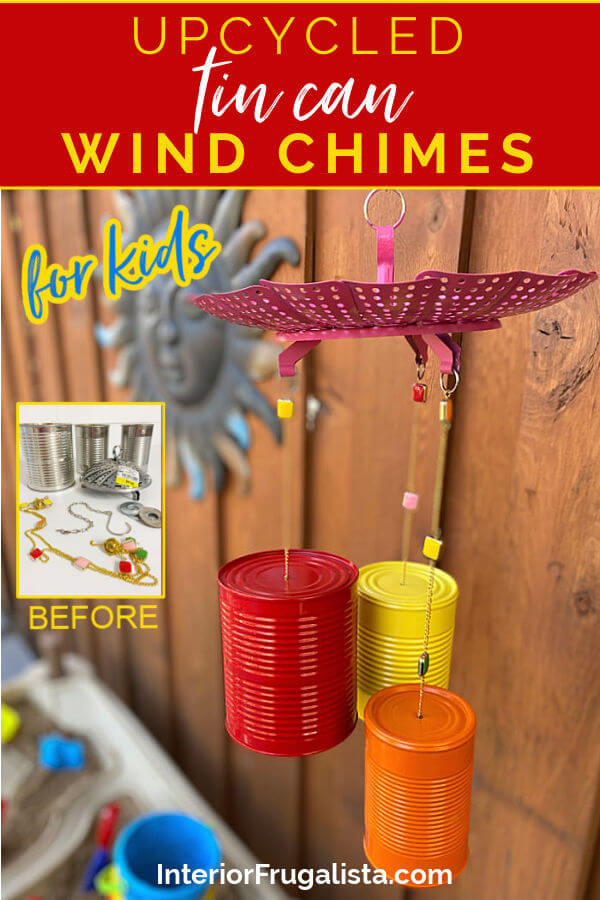 How to make bright and whimsical Upcycled Tin Can Wind Chimes with recycled food cans, a vintage strainer, and old necklace for unique garden decor. #tincancrafts #outdoorcrafts #windchimesdiy