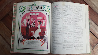 old cook book featuring ice cream recipes and illustration
