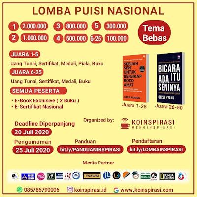 Lomba Menulis Puisi Tingkat Nasional | Berhadiah Uang Tunai Jutaan Rupiah | Oleh Koinspirasi